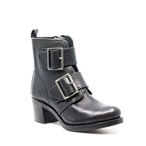 Frye Sabrina Double Buckle Boots Black